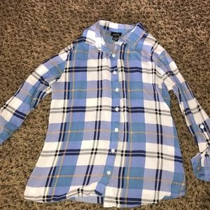 Blue and White Plaid Button Up shirt. Rue 21. S